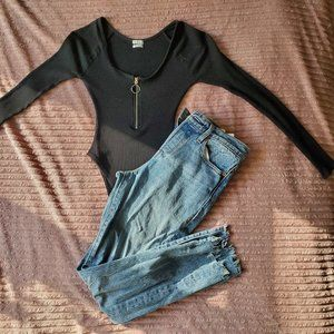Urban Outfitters Black Zip Up  Body suit